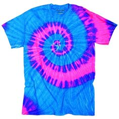 Neon Pink & Blue Berry Flowing Wave Design Unisex Adult Tie Dye... ❤ liked on Polyvore featuring tops, t-shirts, tye dye tops, tye die t shirts, blue tie dye t shirt, tiedye t shirts and tie die t shirt