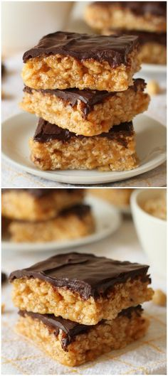 These healthier chocolate peanut butter Rice Krispie treats are nice and chewy, naturally sweetened and incredibly quick and simple to put together! With #gluten-free, 100% #wholegrain, #vegan and #dairy-free options.