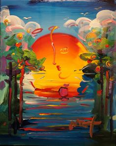 Peter Max -  Acrylic on paper  OHHHH  Lovely