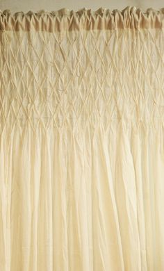 Hand Smocked Cotton Curtain, Jane Ashley - Curtains, Drapery, Window Treatments, Home Decor, and Bedding