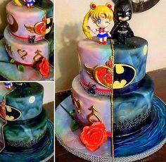 Batman and sailor moon cake