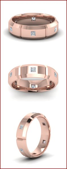 Mens Wedding band with diamonds in rose gold