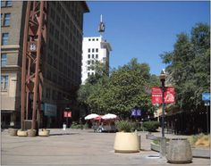 The Fulton Mall, in downtown Fresno, faces three possible futures: completely open the mall to cars, restore the pedestrian mall, and a compromise of the two. Click on photo to learn more.