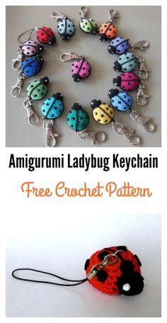 crochet toys ideas Free Amigurumi Ladybug Keychain Crochet Pattern - This Free Amigurumi Ladybug Keychain Crochet Pattern are great to create ladybugs to decorate keychains. This stuffed ladybug could be work up quickly.Modello a crochet con portachi Crochet Keychain Pattern, Crochet Amigurumi Free Patterns, Crochet Motifs, Crochet Dolls, Crochet Accessories Free Pattern, Crochet Bookmarks, Crochet Gifts, Cute Crochet, Beautiful Crochet