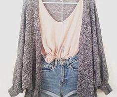 Cute summer outfit: jean shorts, pink tank, grey cardigan
