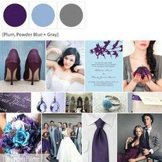 Wedding Colors #wedding no blue but I love the plum and grey... although I'd prefer more of an eggplant.