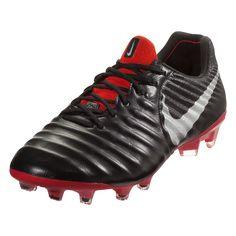 ceef36919001 Nike Tiempo Legend VII Elite FG Soccer Cleat - Black Metallic Silver Light  Crimson