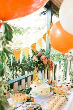 """Aiden's """"In the Orange Garden"""" Party : Design and Styling by ELK Prints. … Aidens """"In the Orange Garden"""" -Party: Design und Styling von ELK Prints. Orange Party, Orange Birthday Parties, Orange Orange, Orange Wedding, Orange Crush, Garden Party Decorations, Birthday Party Decorations, Orange Decorations, Shower Orange"""