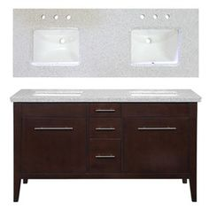 allen + roth Newfield 60-in x 22-in Espresso Undermount Double Sink Bathroom Vanity with Granite Top. $997.01 no faucets or mirror. 20 reviews - 4 stars.