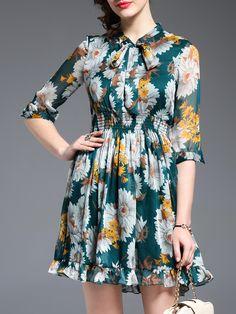 Buy it now. Green Tie Neck Elastic-Waist Flowers Print Dress. Green Half Sleeve Polyester A Line Short Print Fabric has no stretch Summer Casual Day Dresses. , vestidoinformal, casual, camiseta, playeros, informales, túnica, estilocamiseta, camisola, vestidodealgodón, vestidosdealgodón, verano, informal, playa, playero, capa, capas, vestidobabydoll, camisole, túnica, shift, pleat, pleated, drape, t-shape, daisy, foldedshoulder, summer, loosefit, tunictop, swing, day, offtheshoulder, smock...