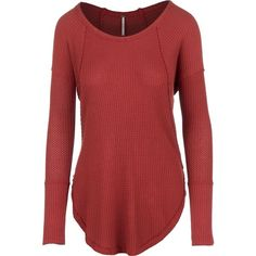 Free People Ventura Drippy Thermal Sweater ($51) ❤ liked on Polyvore featuring tops, sweaters, thermal sweater, red sweater, long sweaters, scoopneck top and red scoop neck top