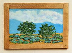 Desert Twins, original landscape painting with a pallet wood frame by Robert Price. www.robertpricegallery.etsy.com