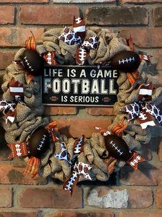 Life is a Game Football Is Serious Fall Burlap Wreath - Anchor Bay Life Baseball Burlap Wreath, Burlap Football, Football Crafts, Football Wreath, Fall Football, Wreath Burlap, Football Season, Diy Fall Wreath, Wreath Crafts