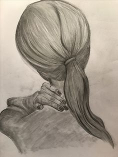 Black and white sketch realistic drawing charcoal shadow hair hand