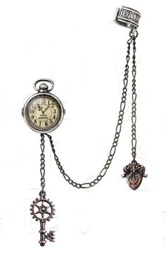 Uncle Albert's Timepiece - The perfect miniature, 13-hour #Lunar time #fob watch and its accoutrements from the #Victorian era, ingeniously cuffed and pinned around the fortunate dandy's ear. $35.00 each, sold individually.  #jewelry #earring #cuff #steampunk #ear #watch #earcuff #dandy #brass #pewter #metal #alchemy