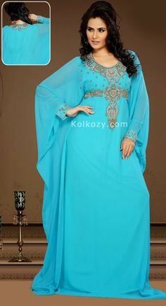 Tranquil Light Blue Color Faux Georgette Embroidered #Kaftan