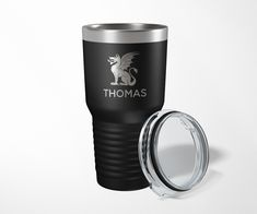 Powder coated stainless steel tumbler with lid. It is recommend that you hand wash all stainless steel. NOT microwave safe. All Stainless Steel, Tumblers With Lids, Theta, Hand Washing, Laser Engraving, Shot Glass, Mugs, Tableware, Dinnerware