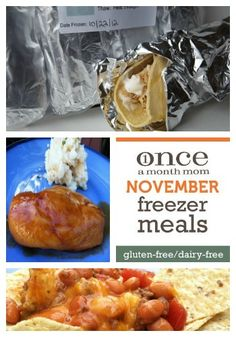 Freezer cooking menu for those avoiding gluten and dairy. All you need to cook a months worth of meals in one day.