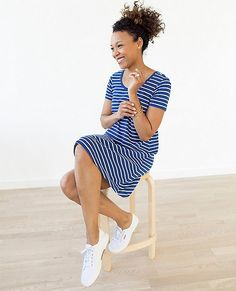 The elements of an essential...soft-touch stretch pima, a super flattering design and a slight swing when you move, plus a pretty scooped neckline.