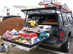 ruck Bed Slide-Out: Truck Bed Storage, Van Storage, Trailer Storage, Tool Storage, Truck Bed Slide, Van Shelving, Truck Camper Shells, Diy Camper Trailer, Truck Tools