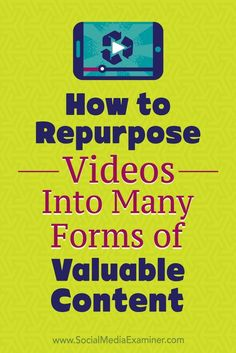 In this article, youlldiscover how to use video to produce up to eight different types of content for your business.