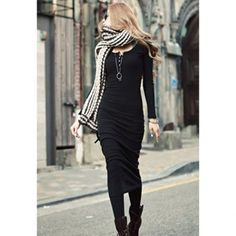 Fashionable Solid Color Long Sleeves Women's Dress, BLACK, ONE SIZE in Long Sleeve Dresses   DressLily.com
