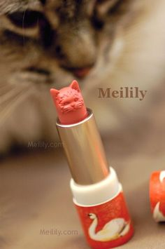 Paul & Joe Cat Lipstick - the tip is carved into the shape of a cat's head, perky ears and all!