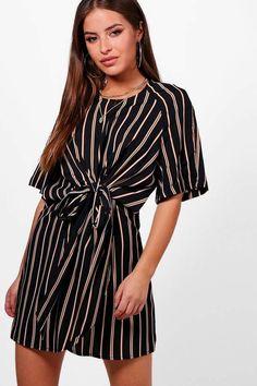 652aadf05754 boohoo Petite Emily Knot Front Stripe Wrap Dress Tie Dress, Shirt Dress,  Wrap Dress