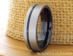 Tungsten Wedding Ring Mens Band Black Gun Metal by BoundlessBands