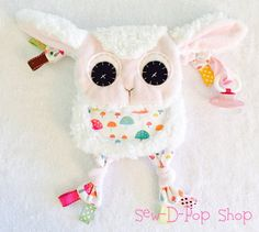 Mini+Lamb+Baby+Blanket+Teething+Toy+Lovey+by+SewDPopShop+on+Etsy