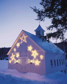 Star Christmas lights on barn! Star Christmas Lights, Merry Christmas, Christmas Love, Outdoor Christmas, Country Christmas, Winter Christmas, All Things Christmas, Christmas Crafts, Christmas Decorations