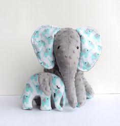 Aqua Grey Mother Baby Elephants--Minky Flannel Elephants--Stuffed Elephants--Elephant Nursery Decor by MemeFleury on Etsy https://www.etsy.com/listing/216570389/aqua-grey-mother-baby-elephants-minky