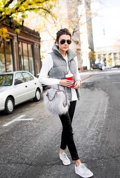 Vest and cute sneakers make these basics feel pulled together. The cute bag gives a pop of visual interest.