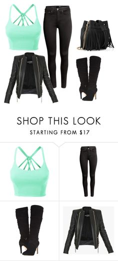 """""""Untitled #244"""" by jovanaaxx on Polyvore featuring LE3NO, H&M, GUESS, Balmain and Whistles"""