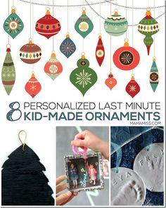 Eight Personalized Last Minute Kid-Made Ornaments   @mamamissblog #kidmadeornaments #kidmadechristmas