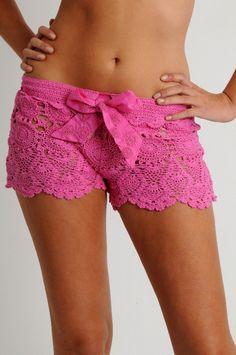 Crochet Swimwear Crochet short, pink: Letarte Swimwear Discovred by : Chiêu Firefly Crochet Shorts Crochet, Lace Shorts, Pj Shorts, Lounge Shorts, Shirt Skirt, Crochet Lace, Crochet Bikini, Pijamas Women, Love Fashion
