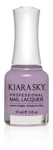 Kiara Sky Polish Warm Lavender N509. Kiara Sky® Professional Nail Lacquer is an advanced formula free of Formaldehyde, Toluene, and DBP. Our highly pigmented, high-fashion nail lacquer provides glassy, full coverage, long-wearing shine for natural nails. Kiara Sky patent-pending bottle design is paired with Precision Brush® technology engineered to complement our highly pigmented formula, giving you the most even and precise lacquer application. Available in 101 trendsetting...