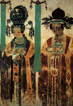 """Khotanese donor ladies"" wall painting from Dunhuang Mogao caves, Five dynasties period, mid 10th c. China"