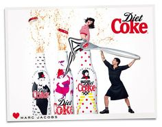 Marc Jacobs For Diet Coke: Marc Jacobs and Ginta Lapina photographed by Stéphane Sednaoui. Photo courtesy of Diet Coke. Via Fashionologie. Coca Light, Diet Coke, Marc Jacobs, Karl Lagerfeld, Coke Ad, Pepsi, Ginta Lapina, Vogue Mexico, Advertising Campaign