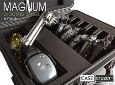 Magnum Shooting Range Handgun Case is lockable and holds 6 large handguns with barrels 4 - 8.50 inches. Handgun case also allows for storage of accessories. Transport weapons such as Beretta 92FS, Glock 17, Desert Eagle, Ruger .357 Magnum, Smith & Wesson 617, Model 500 Smith & Wesson, etc. Case is made in the USA and comes with a lifetime guarantee.