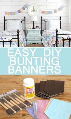 EASY DIY BUNTING BANNERS. So easy to make and make a huge impact in a kids bedroom!