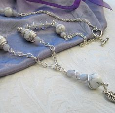 ONE DAY SALE Gemstone Necklace - Howlite with Blue Chalcedony Wire Wrapped