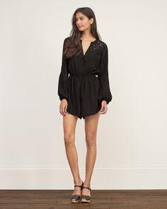 Womens - Lace Panel Romper | Womens - The Black Dress Shop | eu.Abercrombie.com