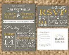 Gray and Poppy Yellow Wedding Invitation and RSVP Post Card- Digital Download