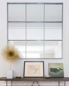 Window Pane Mirror, Silver Metal Frame W:118cm, Large   Free Delivery