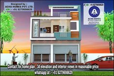 Best 5 House Plan Modern in March 2019 House Front Wall Design, House Balcony Design, House Outer Design, 3 Storey House Design, Unique House Design, Bungalow House Design, House Layout Plans, House Layouts, House Elevation
