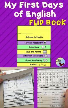 Flip Book for Newcomer or Beginner Level English Language Learners. ESL EFL