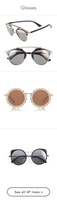 """""""Glasses"""" by ines-louu ❤ liked on Polyvore featuring accessories, eyewear, sunglasses, glasses, очки, multi, christian dior glasses, uv protection sunglasses, mirrored lens sunglasses and clear glasses"""