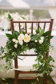 Greenery Chair Garland | photography by http://rebeccaarthurs.com