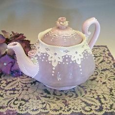 Lavender & Lace Teapot by RomancingTheTeapot on Etsy, $54.95